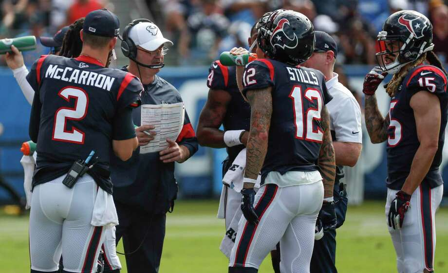 PHOTOS: John McClain's 2019 Week 11 predictions Houston Texans head coach Bill O'Brien talks to his players during a time out in the second quarter of an NFL football game against the Los Angeles Chargers at Dignity Health Sports Park on Sunday, Sept. 22, 2019, in Carson, Calif. >>>See The General's picks for this week's games ... Photo: Brett Coomer, Houston Chronicle / Staff Photographer / © 2019 Houston Chronicle