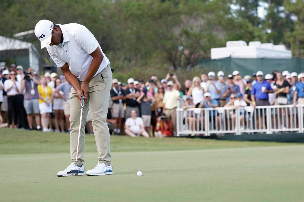 Sebastian Munoz, of Colombia, sinks his putt to win a one-hole playoff in the Sanderson Farms Championship golf tournament in Jackson, Miss., Sunday, Sept. 22, 2019. (AP Photo/Rogelio V. Solis)