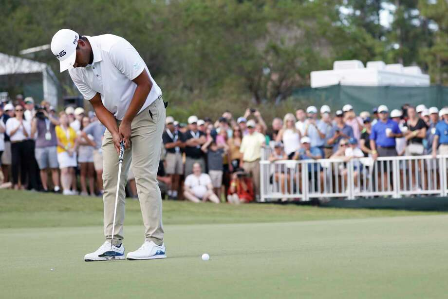 Sebastian Munoz, of Colombia, sinks his putt to win a one-hole playoff in the Sanderson Farms Championship golf tournament in Jackson, Miss., Sunday, Sept. 22, 2019. (AP Photo/Rogelio V. Solis) Photo: Rogelio V. Solis / Copyright 2019 The Associated Press. All rights reserved