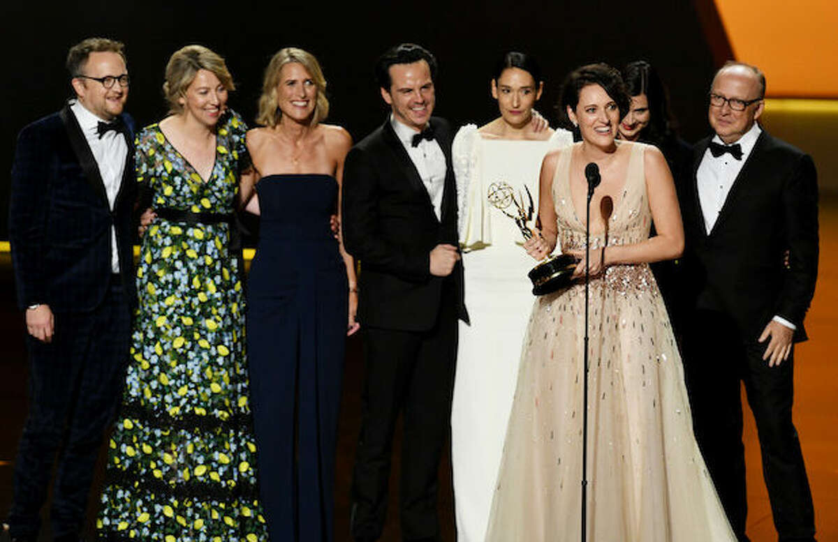 Phoebe Waller-Bridge (speaking) and fellow cast and crew members of 'Fleabag' accept the Outstanding Comedy Series award onstage during the 71st Emmy Awards at Microsoft Theater on September 22, 2019 in Los Angeles, California.