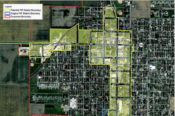 A map shows the potential Carrollton TIF district. The blue boundary includes the 24% of the district that was removed to address tax district concerns. The city council approved this district on Sept. 12.