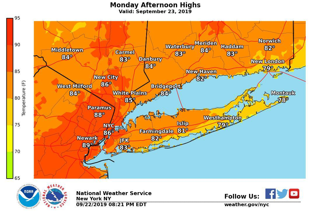 On 1st day of fall, temps to soar into mid-80s