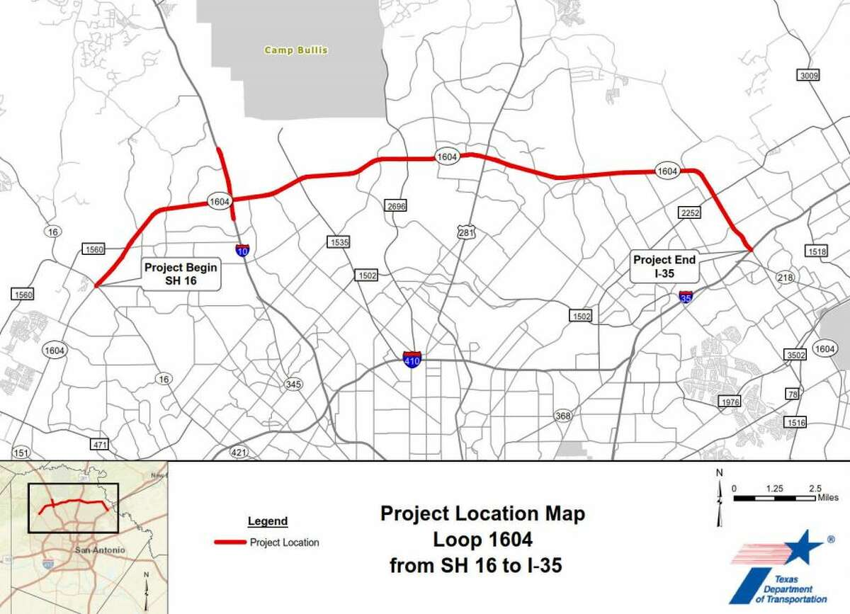 TxDOT hopes to widen 1604 from Bandera Road to Interstate 35, with the whole thing not expected to be completed until 2024.