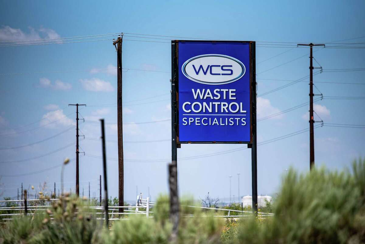 Waste Control Specialists LLC signage stands outside a facility near Andrews, Texas, on Thursday, July 11, 2019. Local support for the project is strong, said Andrews County Judge Charlie Falcon, to establish a repository in the desert about 30 miles outside of town for as much as 40,000 metric tons of highly radioactive spent nuclear fuel and waste from power plants.