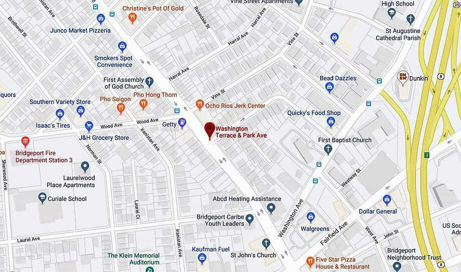 A pedestrian was struck by a vehicle around 9:30 a..m. near the intersection of Park Avenue and Washington Terrace in Bridgeport on Monday, Sept. 23, 2019. Police spokesman Terron Jones said the driver of the vehicle fled the scene and was later captured in Fairfield. Photo: Google Maps