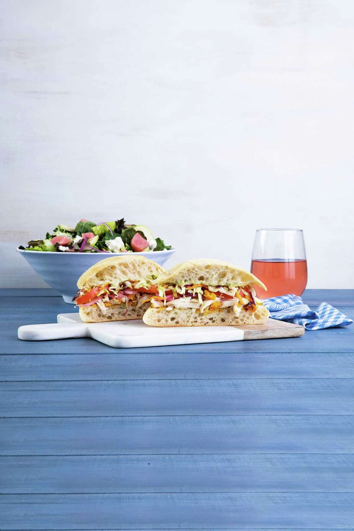 Mendocino Farms, a fast-casual sandwich and salad brand, will open its second Houston location Oct. 3 in Uptown Park. It's first shop in July in Rice Village. A third store will open Nov. 7 in downtown. Shown: Chicken sandwich and farm salad.