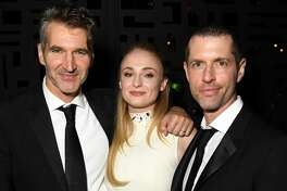 LOS ANGELES, CALIFORNIA - SEPTEMBER 22: (L-R) David Benioff, Sophie Turner, and D.B. Weiss HBO's Official 2019 Emmy After Party on September 22, 2019 in Los Angeles, California. (Photo by Jeff Kravitz/FilmMagic for HBO)