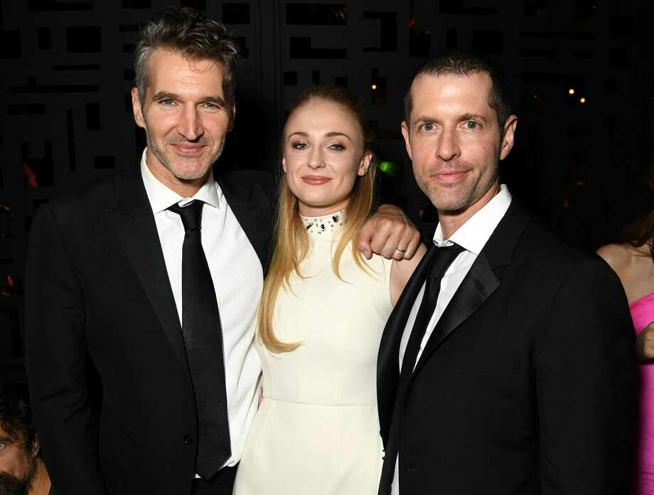 LOS ANGELES, CALIFORNIA - SEPTEMBER 22: (L-R) David Benioff, Sophie Turner, and D.B. Weiss HBO's Official 2019 Emmy After Party on September 22, 2019 in Los Angeles, California. (Photo by Jeff Kravitz/FilmMagic for HBO) Photo: Jeff Kravitz/FilmMagic For HBO