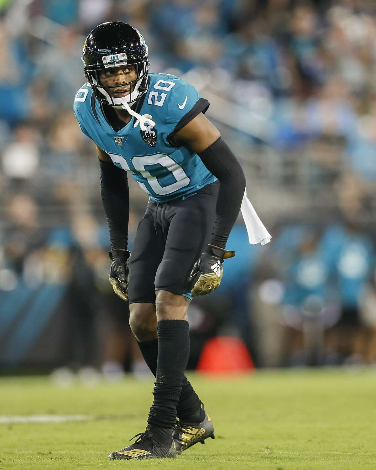 Jalen Ramsey #20 of the Jacksonville Jaguars looks on during the second half of a game against the Tennessee Titans at TIAA Bank Field on September 19, 2019 in Jacksonville, Florida. (Photo by James Gilbert/Getty Images)
