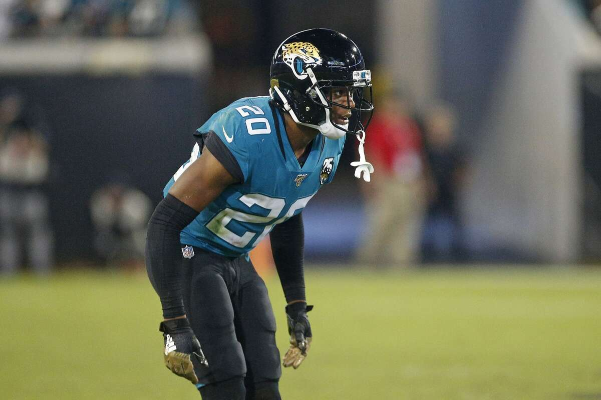 Jacksonville Jaguars cornerback Jalen Ramsey prepares to cover a play during the second half of an NFL football game against the Tennessee Titans, Thursday, Sept. 19, 2019, in Jacksonville, Fla. (AP Photo/Stephen B. Morton)