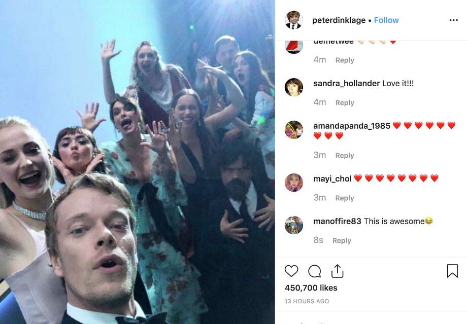 "The ""Game of Thrones"" cast gathered behind the scenes to recreate Ellen DeGeneres' iconic selfie at the Oscars in 2017. Photo: @peterdinklage Via Instagram"