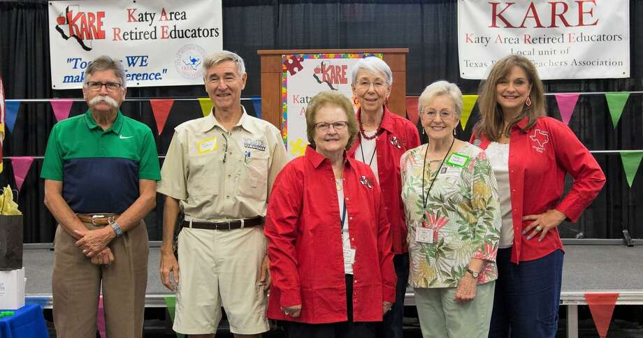 Katy Area Retired Educators past Presidents Gerald Young, John Cameron, Betty Jo Watts, Elysce Garrison, Patty Sanders and Karen Thornton attend KARE's August meeting. Photo: Courtesy Of Sue Perez And Kathryn Williams