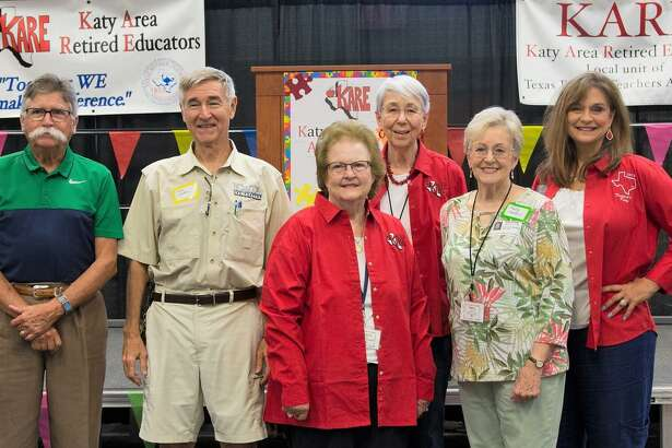 Katy Area Retired Educators past Presidents Gerald Young, John Cameron, Betty Jo Watts, Elysce Garrison, Patty Sanders and Karen Thornton attend KARE's August meeting.