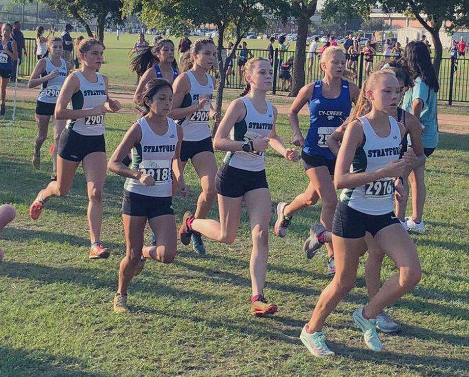 The Stratford girls cross country team won the varsity team championship at the Spring Branch ISD Invitational, scoring 36 points to finish ahead of eight teams. Photo: Stratford High School / Stratford High School