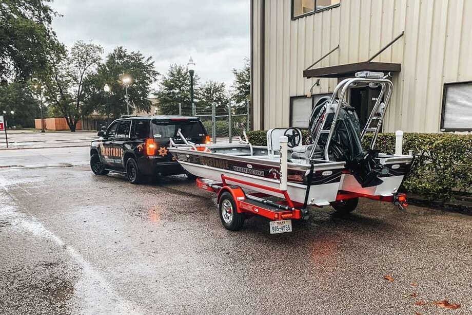 The Montgomery County Precinct 2 Constable's Office swift water rescue motorboat can be seen before being deployed Thursday at the agency's Conroe headquarters. Photo: Courtesy Of The Montgomery County Precinct 2 Constable's Office