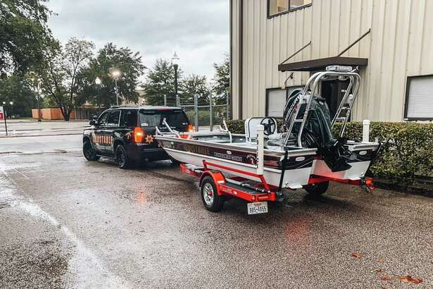 The Montgomery County Precinct 2 Constable's Office swift water rescue motorboat can be seen before being deployed Thursday at the agency's Conroe headquarters.