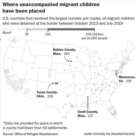 U.S. counties that received the largest number, per capita, of migrant children who were detained at the border between October 2013 and July 2019. Photo: Washington Post