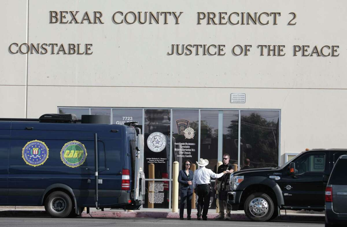 The office of Precinct 2 Constable Michelle Barrientes Vela is raided by the FBI and Texas Rangers on Monday, Sept. 23.