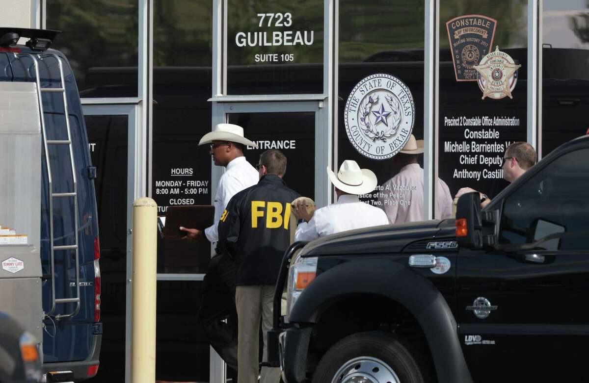 The office of Precinct 2 Constable Michelle Barrientes Vela is raided by FBI and Texas Rangers on Monday, Sept. 23.