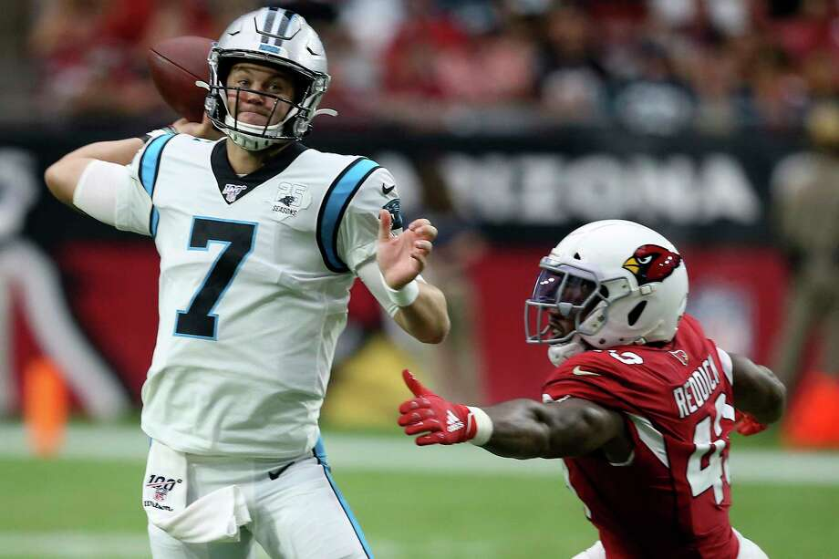Kyle Allen threw four touchdown passes in Sunday's win over the Cardinals and will get his second straight start for the Panthers in week 4 against the Texans. Photo: Ross D. Franklin, Associated Press / Copyright 2019 The Associated Press. All rights reserved