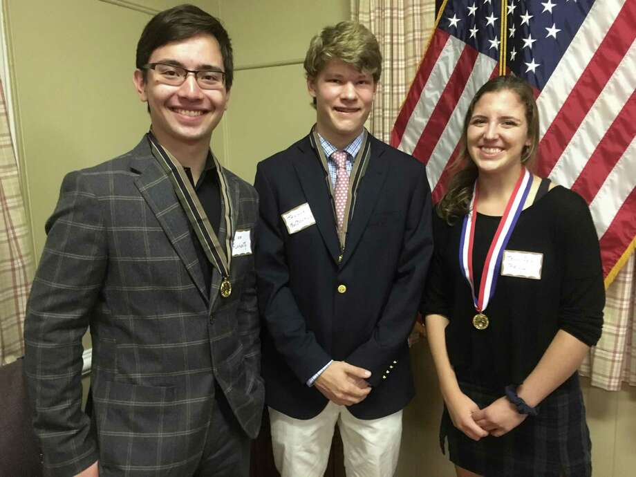 Ridgefield High School students Liam Flaherty, Taylor MacDonald and Jennifer Paul. Photo: Contributed Photo
