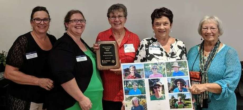 The Village Garden in Godfrey received the Teamwork State Award from the University of Illinois Extension Master Gardener program during its state conference Sept. 6 in East Moline. Pictured from left are Elizabeth Wahle, Extension Specialist; Sarah Ruth, Extension Program Coordinator; and Master Gardeners Nancy Orrill, Noncy Dooling and Judy Roth.