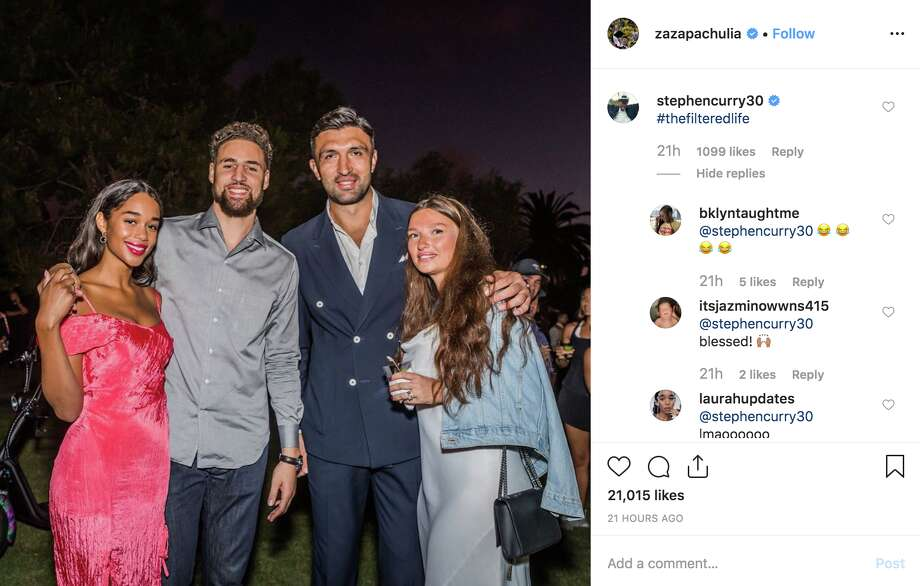 Steph Curry leaves savage comment on very filtered photo of Klay Thompson, Zaza Pachulia