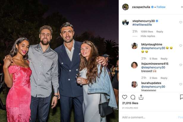Klay Thompson, Laura Harrier, Zaza Pachulia and Tika Pachulia enjoy the reception at the Thompson Family Foundation celebrity golf tournament in Sept. 2019.