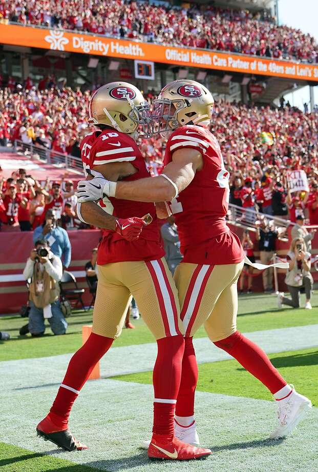 SANTA CLARA, CALIFORNIA - SEPTEMBER 22: Dante Pettis #18 and Kyle Juszczyk #44 of the San Francisco 49ers celebrates after Pettis caught a touchdown pass late in the fourth quarter against the Pittsburgh Steelers at Levi's Stadium on September 22, 2019 in Santa Clara, California. The 49ers won the game 24-20. (Photo by Thearon W. Henderson/Getty Images) Photo: Thearon W. Henderson, Getty Images