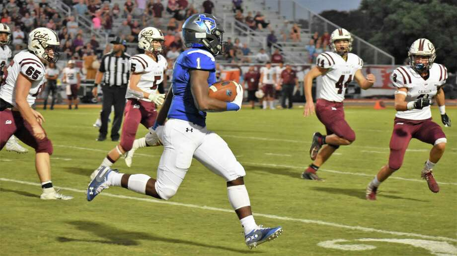 Ashton Stredick carries the football during the Blue Jays' homecoming game against Corpus Christi Calallen. Stredick rushed for 232 yards and four touchdowns the following week in a 49-12 win against Yoakum. Photo: Needville ISD Communications / Needville ISD Communications