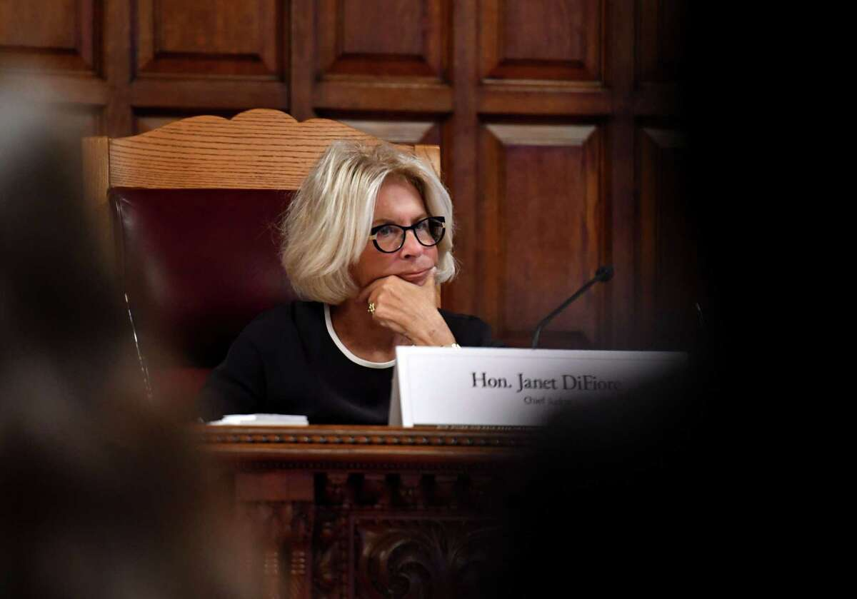 Chief Judge Janet DiFiore listens during a public hearing to evaluate the civil legal services needs in New York on Monday, Sept. 23, 2019, at the Court of Appeals in Albany, N.Y. (Will Waldron/Times Union)