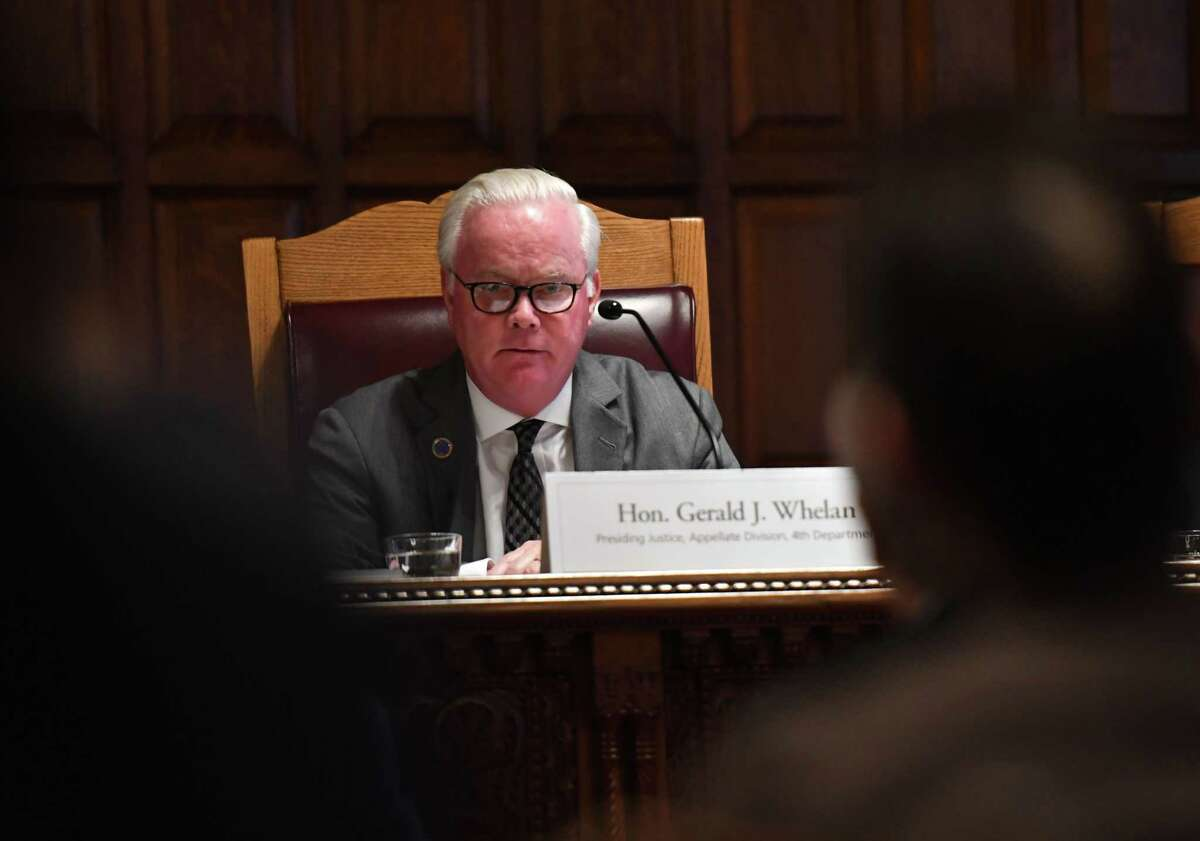 Appellate Justice Gerald J. Whalen, speaks during a public hearing to evaluate the civil legal services needs in New York on Monday, Sept. 23, 2019, at the Court of Appeals in Albany, N.Y. (Will Waldron/Times Union)
