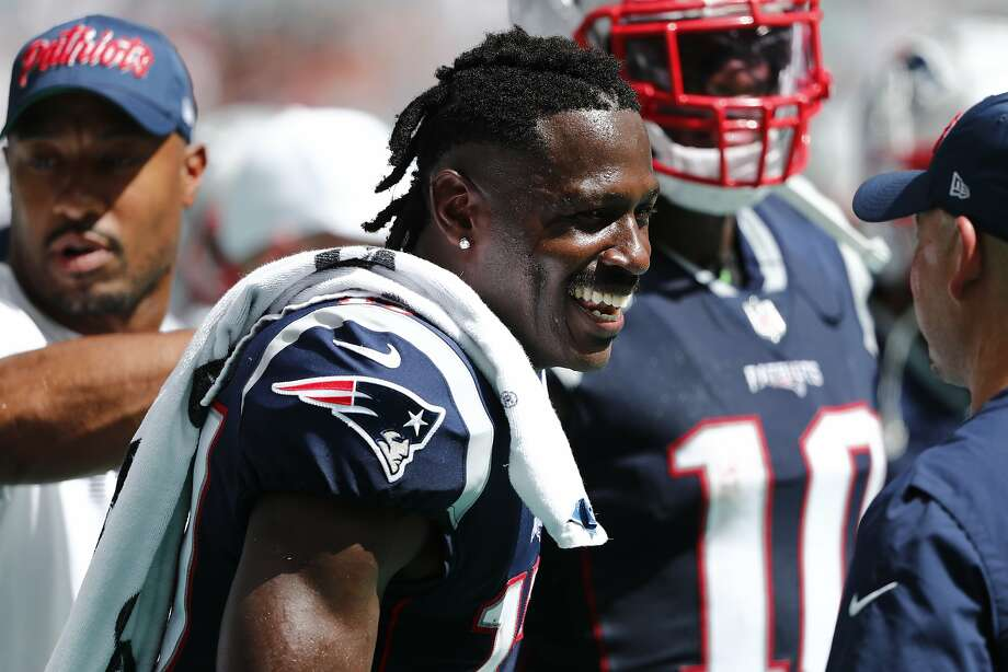 New England Patriots wide receiver Antonio Brown (17) smiles in the end zone, during the second half at an NFL football game against the Miami Dolphins, Sunday, Sept. 15, 2019, in Miami Gardens, Fla. (AP Photo/Brynn Anderson) Photo: Brynn Anderson / Associated Press