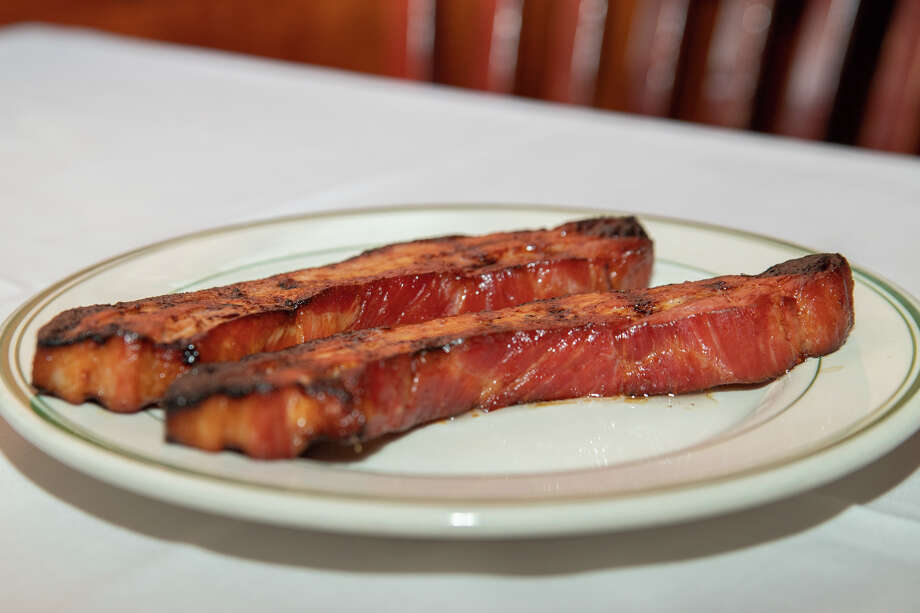 Extra thick cut bacon at Joseph's Steakhouse in Bridgeport. Photo: Ken Honore / DIRECT KENX MEDIA