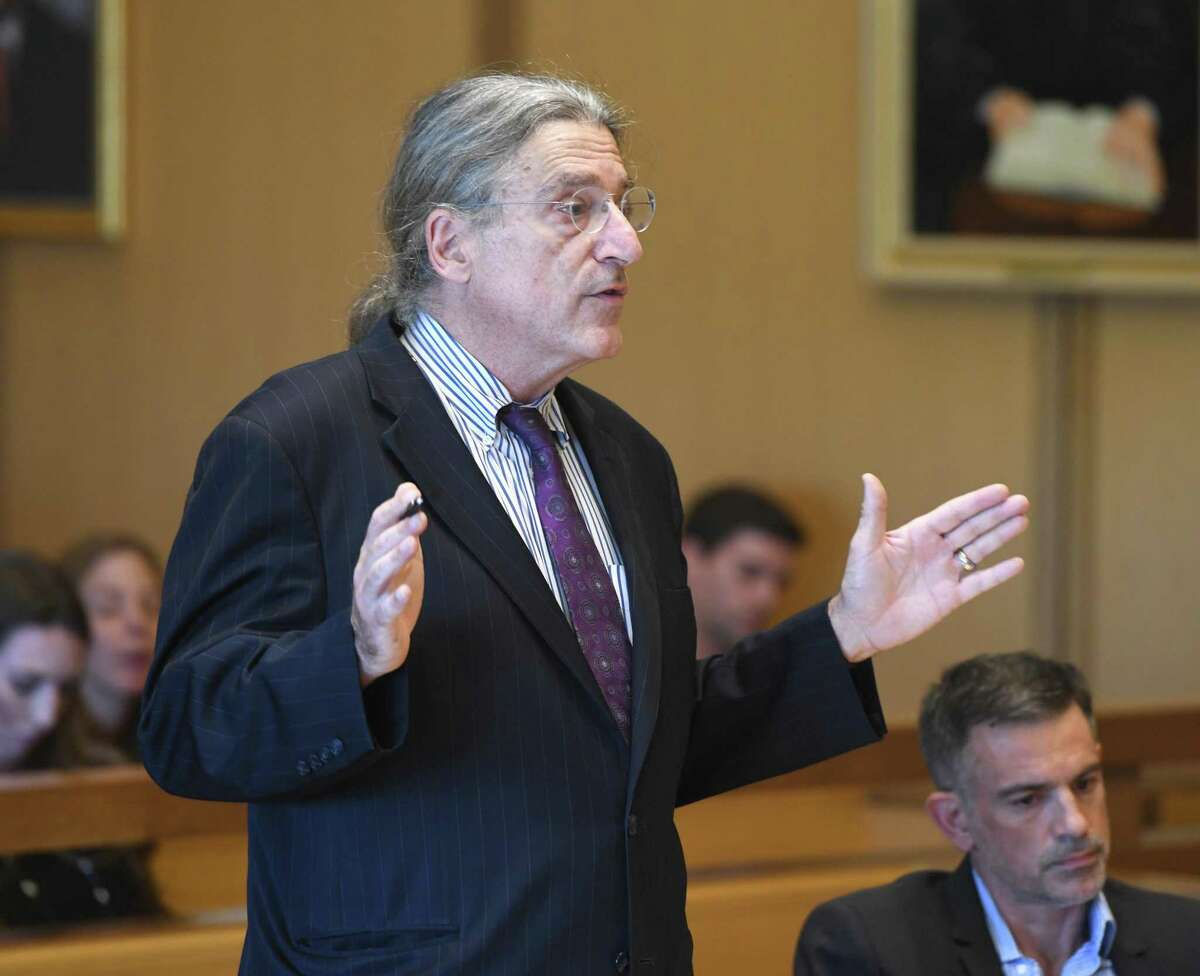 Fotis Dulos' attorney Norm Pattis speaks during his client's hearing at the Connecticut Superior Court in Stamford, Conn. Monday, Sept. 23, 2019.