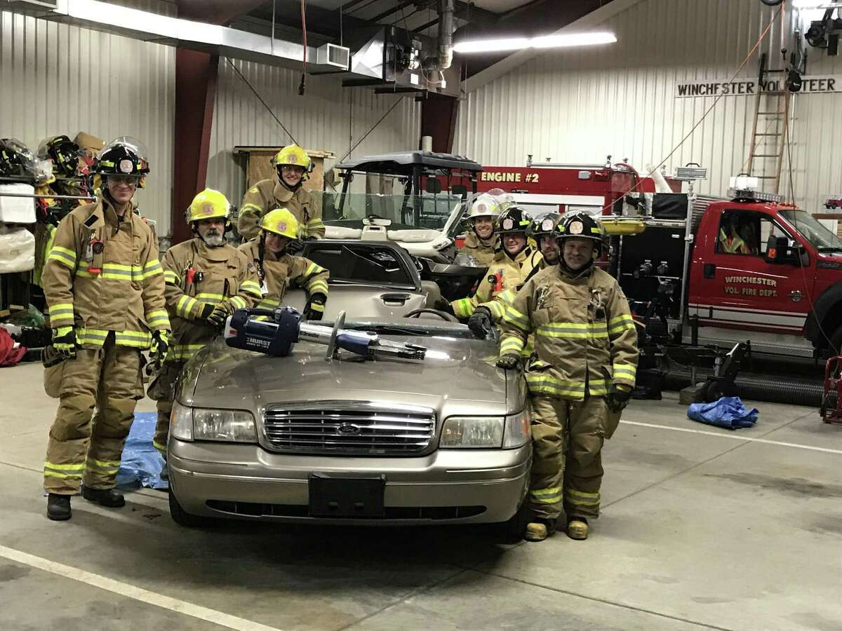 Members of the Winchester Volunteer Fire Department had their first training session with a Hurst Rescue Tool, which was purchased with a $12,600 donation from the Auxiliary for Community Health.