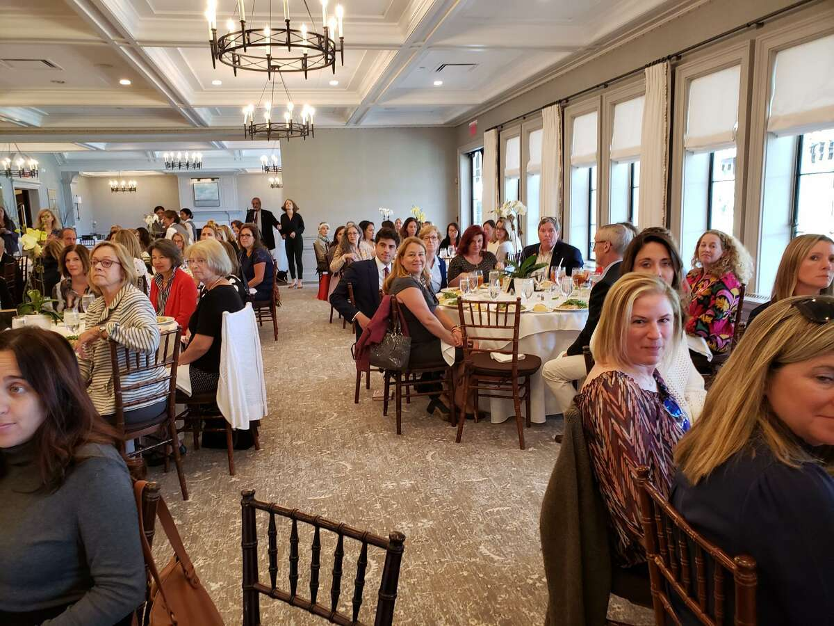 More than 120 people attended the event, held on Sept.19. Shannon Watts, founder of Moms Demand Action, speaks at Darien's League of Women Voters event