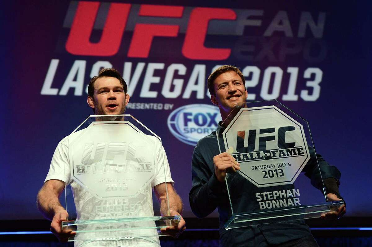Bonnar's fight against Forrest Griffin, left, earned him a spot in the UFC Hall of Fame in 2013. His last MMA fight was in 2014.
