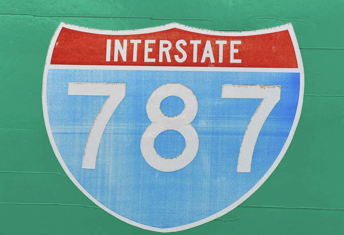 Sign for I-787 on Monday afternoon, Sept. 23, 2019, in Albany, N.Y. (Will Waldron/Times Union)