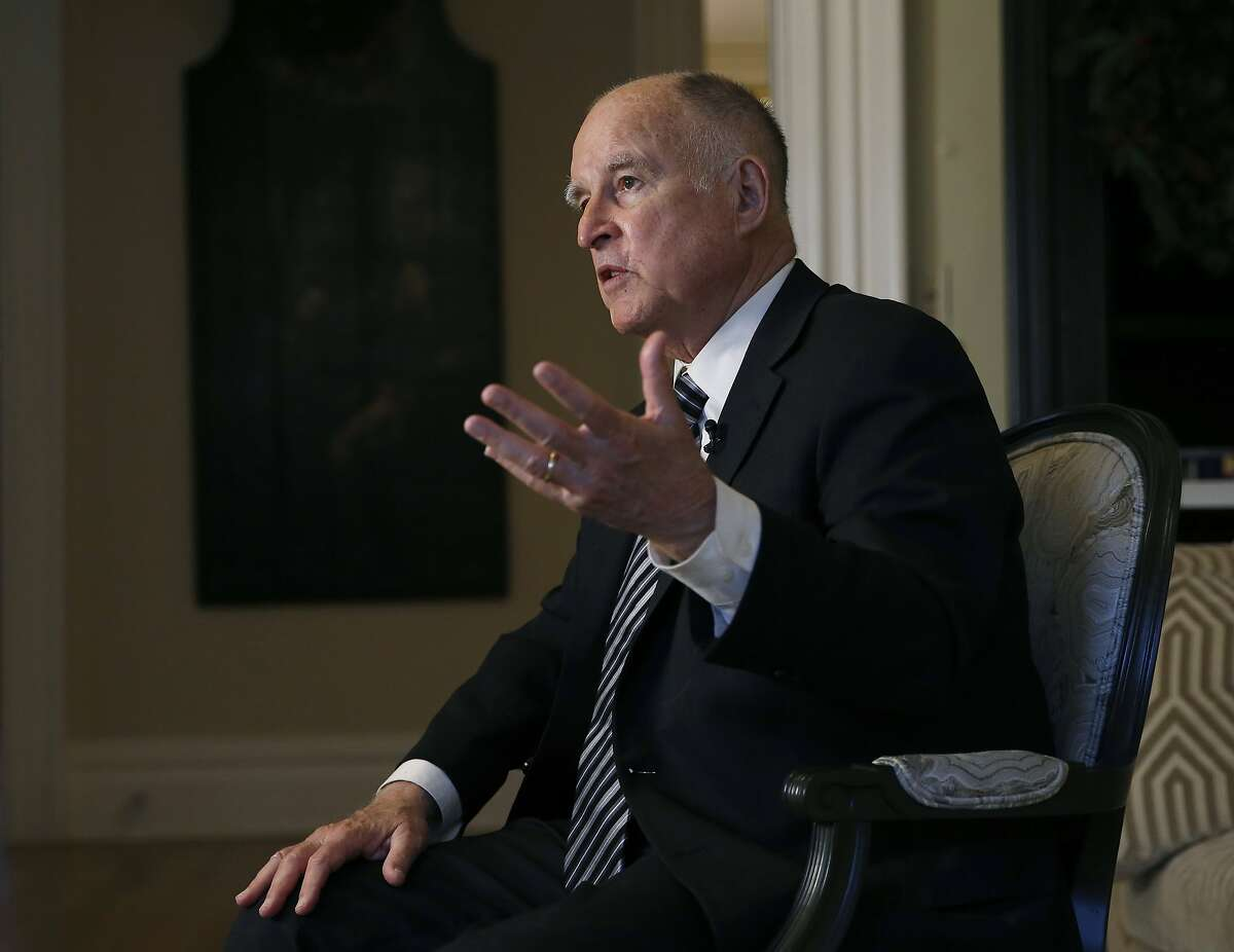 In this Tuesday, Dec. 18, 2018 photo, California Gov. Jerry Brown discusses his time in the state's highest office during an interview with The Associated Press in Sacramento, Calif. Brown, a Democrat, will leave office Jan. 7 after serving a record four terms. (AP Photo/Rich Pedroncelli)