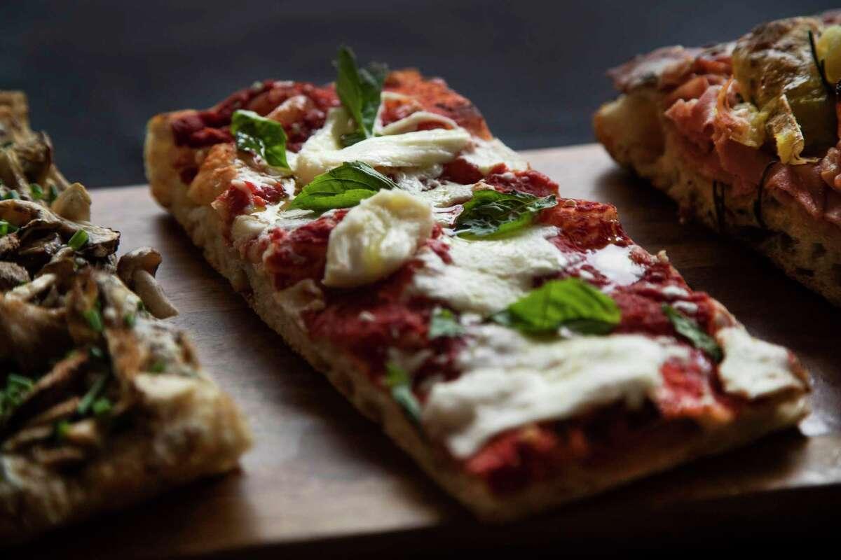BOH Pasta & Pizza's margherita with fresh mozzarella, tomato, 1836 olive oil, and basil varieties.