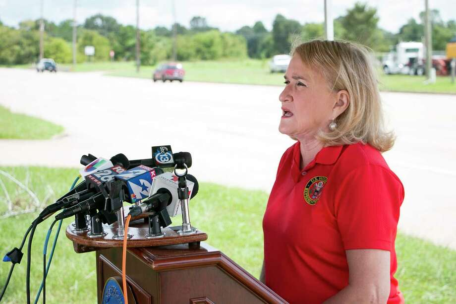 Congresswoman Sylvia Garcia (D-TX 29) held a press conference on Sept. 23 in front of the damaged post office on Aldine Bender Road. Photo: By Savannah Mehrtens