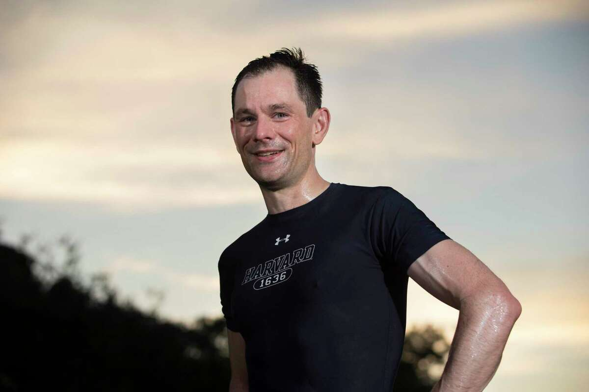 Dr. Theodore Shybut, 41, poses for a photograph after his morning run in the Woodland Heights on Wednesday, Sept. 4, 2019, in Houston. Shybut was on the crew team in college and tries to maintain healthy as an orthopedic surgeon.
