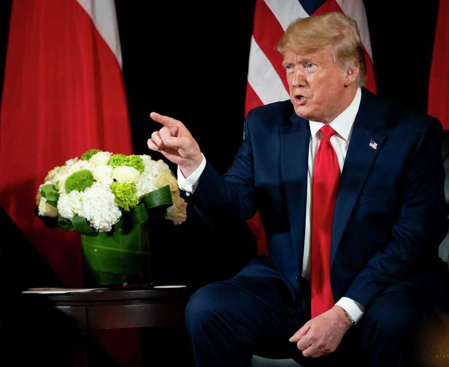 President Donald Trump, makes remarks about former Vice President Joe Biden and Ukraine, at the InterContinental New York Barclay in New York, on Monday, Sept. 23, 2019, during his meeting with President Andrzej Duda of Poland. Trump began several days of international diplomacy at the United Nations on Monday. (Doug Mills/The New York Times) Photo: DOUG MILLS, STF / NYT / NYTNS