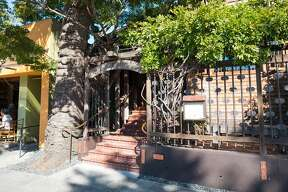 The facade of Chez Panisse, the flagship restaurant of iconic restaurateur Alice Waters, in the Gourmet Ghetto neighborhood of Berkeley.