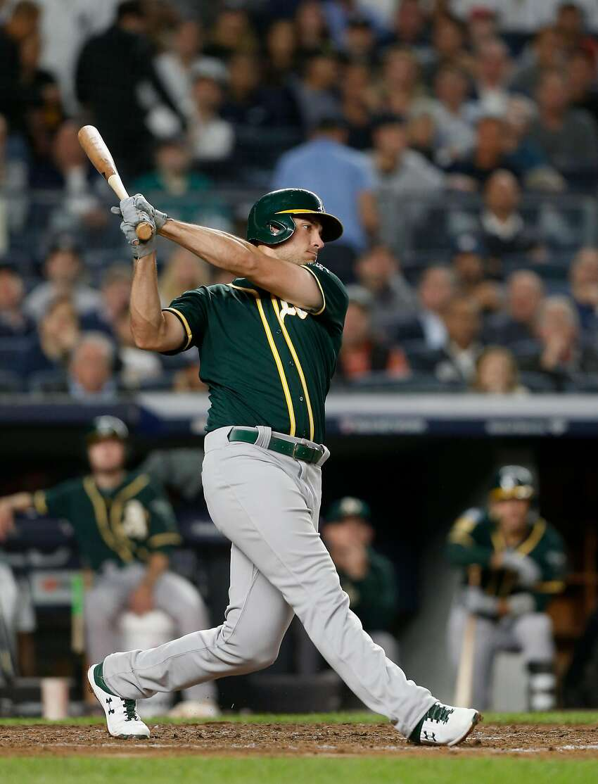 NEW YORK, NY - OCTOBER 03: (NEW YORK DAILIES OUT) Matt Olson #28 of the Oakland Athletics in action against the New York Yankees in the American League Wild Card Game at Yankee Stadium on October 3, 2018 in the Bronx borough of New York City. The Yanke