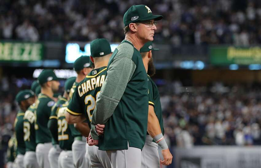 NEW YORK, NY - OCTOBER 3: Bob Melvin #6, manager of the Oakland Athletics, lines up for the national anthem before the American League Wild Card game against the New York Yankees at Yankee Stadium on Wednesday, October 3, 2018 in the Bronx borough of New York City. (Photo by Alex Trautwig/MLB via Getty Images)