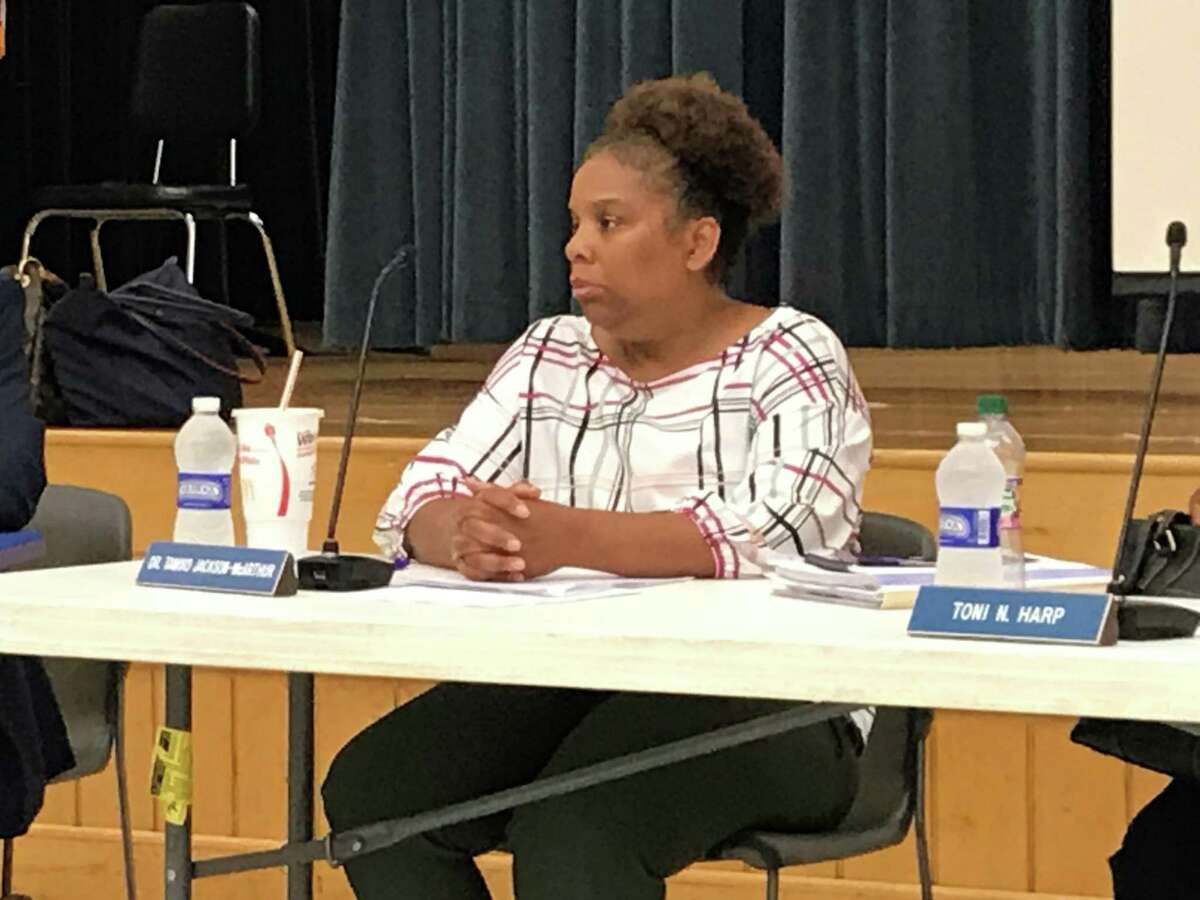 New Haven Board of Education member Tamiko Jackson-McArthur at a Sept. 23, 2019 meeting.