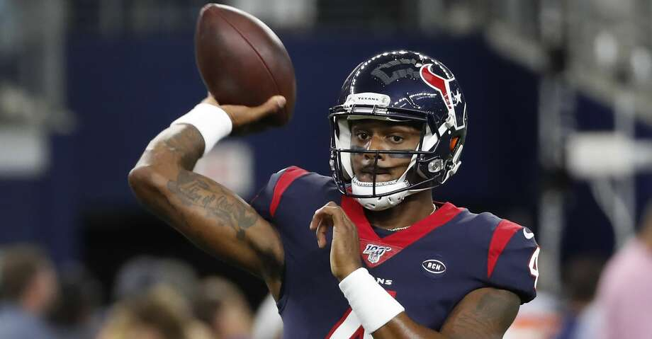 PHOTOS: Texans vs. Chargers Houston Texans quarterback Deshaun Watson throws the football while warming up before an NFL preseason football game against the Dallas Cowboys at AT&T Stadium on Saturday, Aug. 24, 2019, in Arlington, Texas. Browse through the photos to see action from the Texans' win over the Chargers on Sunday. Photo: Brett Coomer/Staff Photographer