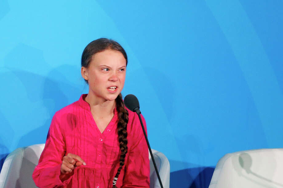 Environmental activist Greta Thunberg, of Sweden, addresses the Climate Action Summit in the United Nations General Assembly, at U.N. headquarters, Monday, Sept. 23, 2019.  Photo: Jason DeCrow / FR103966 AP
